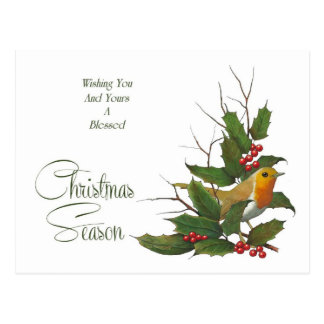 Christmas: Holly, Berries, English Robin: Art Postcard
