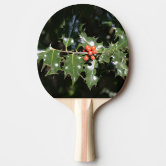 Christmas Holly Berries Ping Pong Paddle