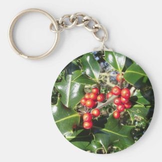 Christmas Holly Berries On Holly Tree Keychain