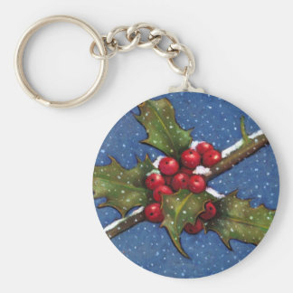 CHRISTMAS HOLLY, BERRIES, PASTEL ART KEYCHAIN