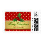 Christmas Holly Berries - Red Gold Dots Gift Tag Postage<br><div class='desc'>Christmas Holly Berries - Red Gold Polka Dots Customizable Postage Stamp for you (The Background Color is Changeable). It&#39;s perfect for weddings,  birthdays,  baby showers,  holidays,  Christmas,  and more.</div>