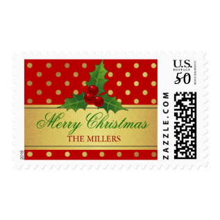 Christmas Holly Berries - Red Gold Dots Gift Tag Postage at Zazzle