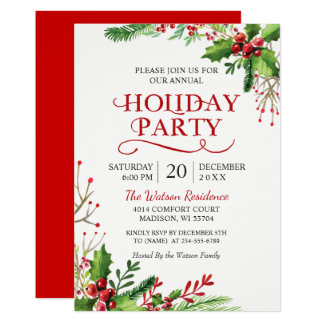 Christmas Holly Berries Rustic Chic Holiday Party Card