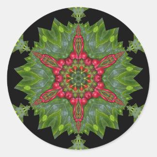 Christmas Holly Berry Kaleidoscopic Mandala 1 Classic Round Sticker