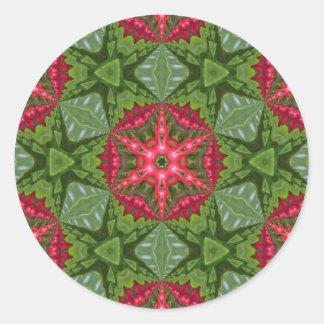 Christmas Holly Berry Kaleidoscopic Mandala 2 Classic Round Sticker