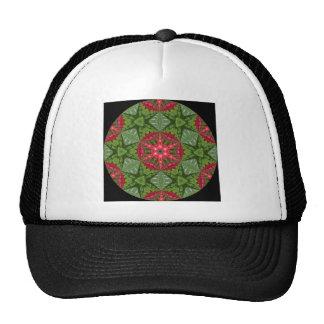 Christmas Holly Berry Kaleidoscopic Mandala 2 Trucker Hats