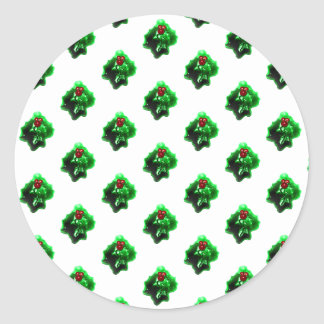 Christmas Holly Berry Pattern Classic Round Sticker