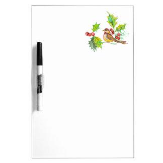 Christmas Holly & Bird Dry-Erase Board