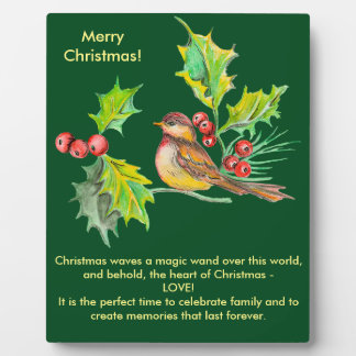 Christmas Holly & Bird Plaque