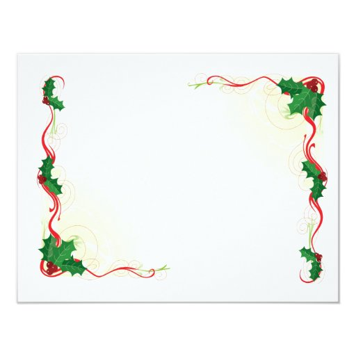 Christmas Holly Border Personalized Invitation