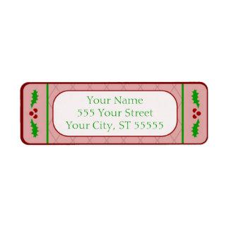 Christmas Holly Borders Address Label