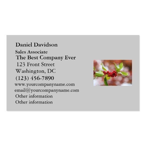 Christmas Holly Double-Sided Standard Business Cards (Pack Of 100)
