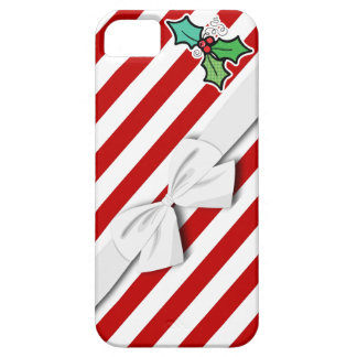 christmas holly candy cane stripes and faux bow iPhone SE/5/5s case