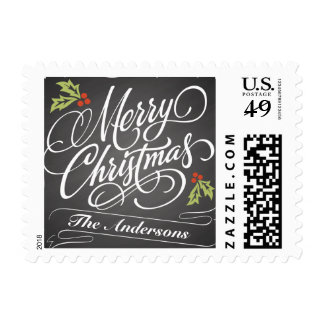 Christmas Holly Chalkboard Calligraphy Postage