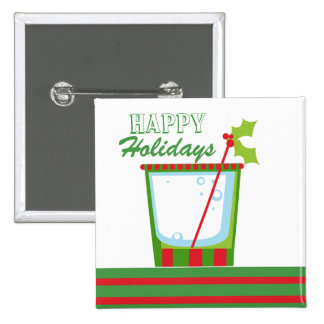 Christmas Holly Cocktail Happy Holidays Pinback Buttons