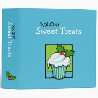 Christmas Holly Cupcake blue Avery Binder