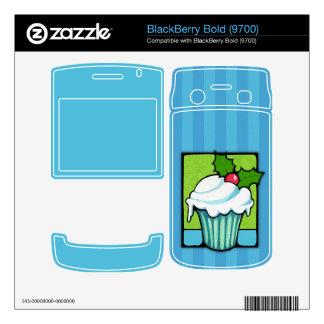 Christmas Holly Cupcake blue BlackBerry Bold Skin