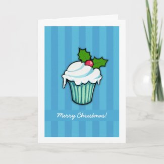 Christmas Holly Cupcake blue Christmas Card