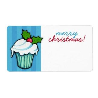 Christmas Holly Cupcake blue Christmas Sticker
