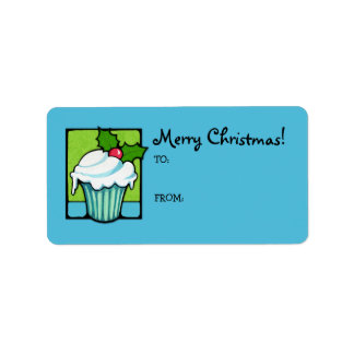 Christmas Holly Cupcake blue Gift Tag Label Address Label