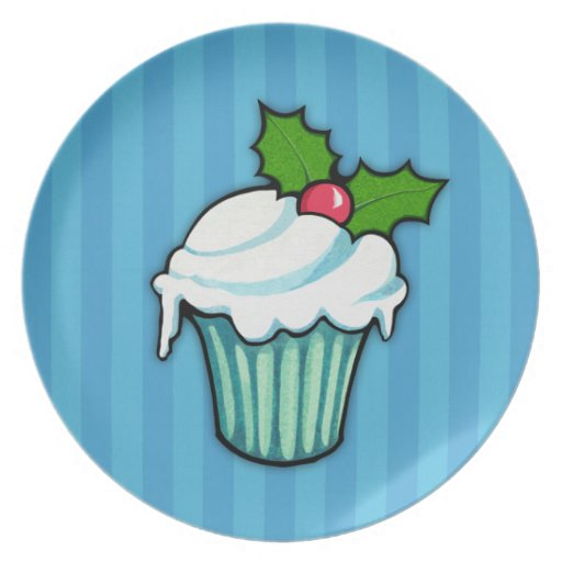 Christmas Holly Cupcake blue Plate 2