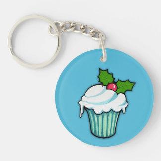 Christmas Holly Cupcake blue Round Acrylic Double-Sided Round Acrylic Keychain