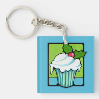 Christmas Holly Cupcake blue Square Acrylic Keychain