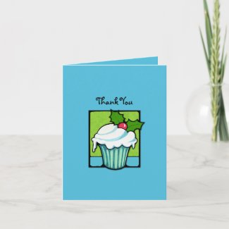 Christmas Holly Cupcake blue Thank You Note Card card