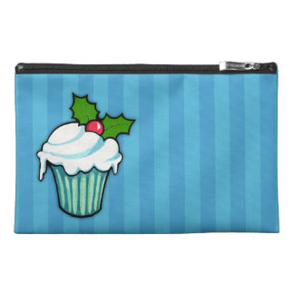 Christmas Holly Cupcake blue Travel Accessory Bag