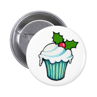 Christmas Holly Cupcake Button