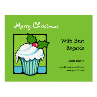 Christmas Holly Cupcake green Best Regards Postcar Postcard