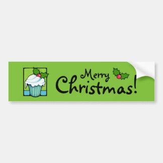 Christmas Holly Cupcake green Bumper Sticker