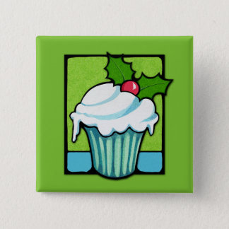 Christmas Holly Cupcake green Button