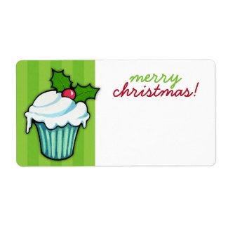 Christmas Holly Cupcake green Christmas Sticker