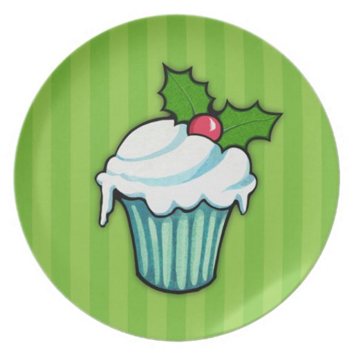 Christmas Holly Cupcake green Plate 2