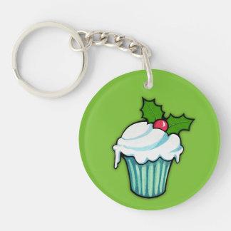 Christmas Holly Cupcake green Round Acrylic Double-Sided Round Acrylic Keychain