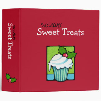 Christmas Holly Cupcake red Avery Binder