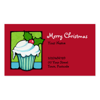 Christmas Holly Cupcake red Business Card