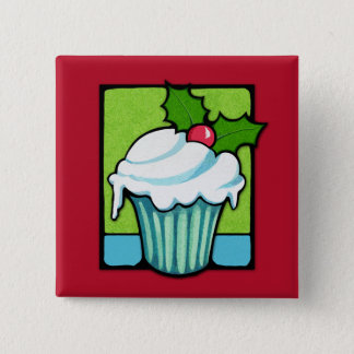 Christmas Holly Cupcake red Button