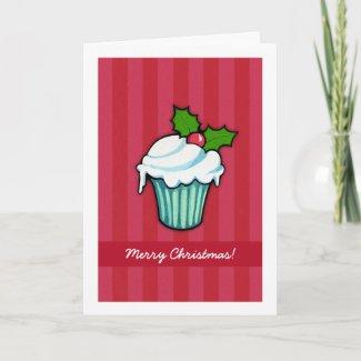 Christmas Holly Cupcake red Christmas Card