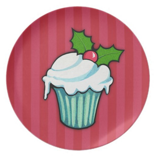 Christmas Holly Cupcake red Plate 2