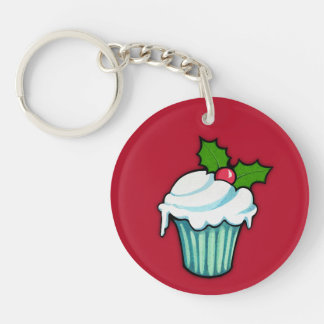 Christmas Holly Cupcake red Round Acrylic Double-Sided Round Acrylic Keychain