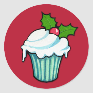 Christmas Holly Cupcake red Sticker