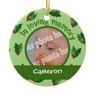 Christmas Holly Custom Photo Baby Memorial