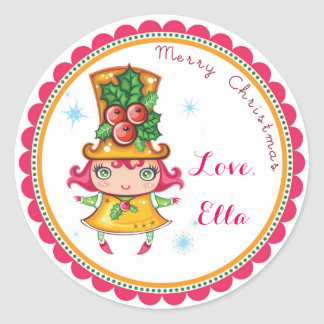 Christmas Holly Doll favor goodie bag stickers