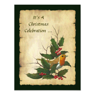 Christmas Holly: English Robin, Twigs, Parchment Card