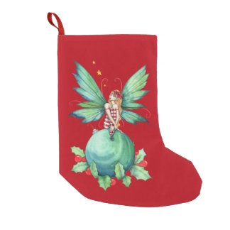 Christmas Holly Fairy Fantasy Art Small Christmas Stocking