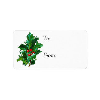 Christmas Holly Gift Tag Address Label