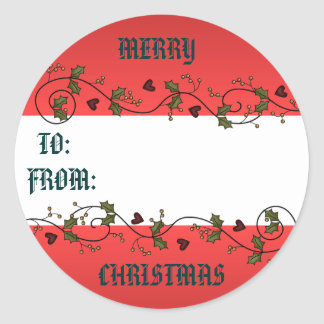 Christmas Holly Gift Tag Classic Round Sticker