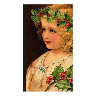 """Christmas Holly Girl "" Gift Tag Business Card"